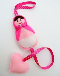 Girls Russian Doll Hair Clip Holder pink by DevonlyCrafts on Etsy, £6.50