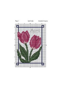 April tulip free cross stitch chart | Amanda Gregory cross-stitch design