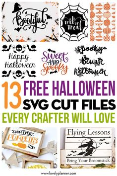 13 Free Halloween SVG Cut Files Every Crafter Will Love - Lovely Planner - 13 Best Free Halloween SVG cut file every crafter will love. Perfect to create many DIY projects: easily make Halloween shirts, glass, mugs, pillows, signs. Cricut Svg Files Free, Cricut Fonts, Free Svg Cut Files, Halloween Vinyl, Halloween Shirts Kids, Halloween Pillows, Halloween Projects, Diy Halloween Ornaments, Halloween Boo