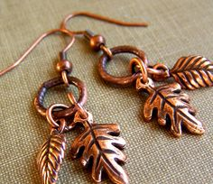 Antique Copper Leaf Earrings by acottagehearth on Etsy, $23.00