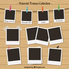 Polaroid frames collection in retro style Free Vector