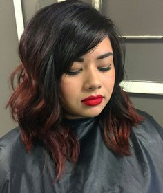 Long bob with black to red ombre