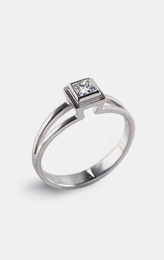 PRINCESS Engagement Ring Solitaire Diamond. Love this super unique design.