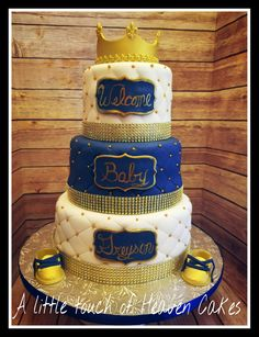 Blue and Gold Fondant Baby Shower Cake