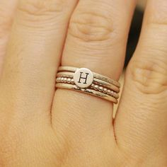 Set of 4 Sterling Silver Minimalist Rings Initial