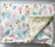 Bear Baby Girl Minky Blanket-Modern Nursery-Pink Teal Aqua-Receiving Blanket-Garden Bears-Designer Fabric-Baby Shower Gift-Bedding