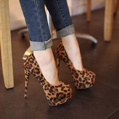 Fashion Round Closed Toe Stiletto High Heels Leopard Suede Basic Pumps