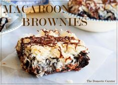 MACAROON BROWNIES - Fudgy, rich brownies with a chewy coconut macaroon topping. These brownies are decadent and delicious. a dessert designed to please both chocolate and coconut lovers. You will love them, so yummy! Fudgy Brownie Recipe, Fudgy Brownies, Brownie Bar, Brownie Recipes, How To Make Macaroons, Melting Chocolate Chips, Chocolate Chocolate, Pumpkin Brownies, Coconut Macaroons