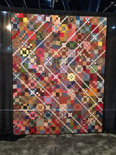 My Trail Mix quilt hanging in the Texas Award Winning Quilts in Houston Quilt Block Patterns, Pattern Blocks, Quilt Blocks, Scrappy Quilts, Patchwork Quilting, 9 Patch Quilt, Contemporary Quilts, Blue Rooms, Quilt Making