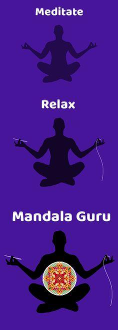 Meditate - Relax - Mandala Guru Create your personal Mandala Cross Stitch pattern and enjoy your me time! Mandala Pattern, Mandala Design, Cross Stitch Designs, Cross Stitch Patterns, No Time For Me, You And I, Your Design, Meditation, Relax