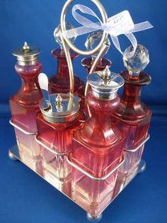 Victorian ~ CRANBERRY GLASS CRUET SET ~ Silverplate Decanter Silver Holder