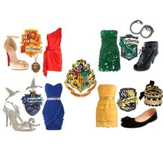Outfits according to your Hogwarts house. Harry Potter - Gryffindor - Slytherin - Ravenclaw - Hufflepuff