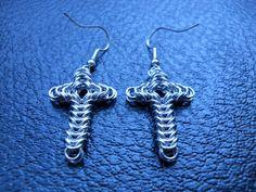 Box Chainmail Cross Earrings. $10.00, via Etsy.