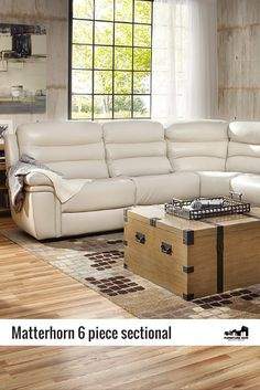 the matterhorn 6 piece sectional is made of smooth smoke gray topgrain leather with a cool and style