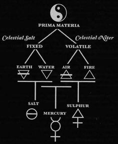 Diagram showing Alchemical Cosmogony or alchemical movement from Prima Materia to Ultima Materia. The three philosophical principles of Alchemy are considered the working units of this system. Occult Symbols, Magic Symbols, Ancient Symbols, Viking Symbols, Alchemy, Arte Hippy, Kundalini, Esoteric Art, Principles Of Art