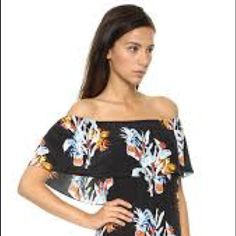 Rebecca Minkoff Off-shoulder Pineapple Print Dress On trend silk off the shoulder dress in tropical print. *My closet is currently closed, but feel free to ask me any questions about any of the items. Rebecca Minkoff Dresses Maxi