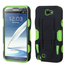 MYBAT Advanced Car Armor Stand Case for Galaxy Note 2 - Black/Green