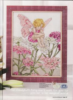 Cross stitch - fairies: Candytuft fairy - Cicely Mary Barker (free pattern with chart)