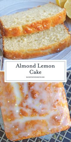 Almond Lemon Cake - Yogurt, fresh lemon and almond give this sunny loaf cake a unique flavor and texture that everyone - Köstliche Desserts, Delicious Desserts, Dessert Recipes, Yummy Food, Loaf Recipes, Lemon Recipes, Baking Recipes, Food Cakes, Cupcake Cakes