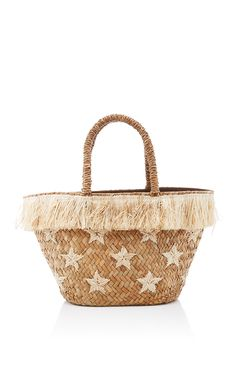 This **Kayu** Stellar tote is rendered in straw and features all over star embroidery and fringe detailing. Fringe Handbags, Straw Handbags, Tote Handbags, Purses And Handbags, Tote Bags, Fringe Purse, Novelty Handbags, Wicker Purse, Straw Tote