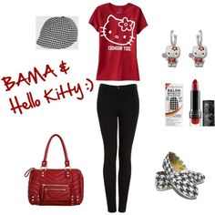 Hello Kitty and Bama, created by #brenda-wilson-carroll on #polyvore. #fashion #style Old Navy #TOMS