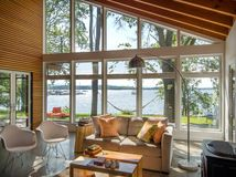 Houzz Tour: Just What Mom Wanted, Off the Washington Coast I love wall to ceiling windows. It opens the entire house right up. By doing so it is easier to design with darker colours without making the space feel small.