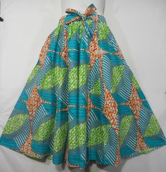 African Wax Fabric Skirt Elastic Waist Maxi Skirt Ankara Wax Long Skirt Women Black History Month Party Wide Flared Skirt Turquoise Lime Ora by dashikicaftan11 on Etsy