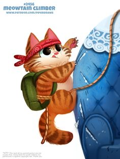 Daily Paint Meowtain Climber by Cryptid-Creations on DeviantArt Cute Animal Drawings, Kawaii Drawings, Cute Drawings, Cute Creatures, Fantasy Creatures, Animal Puns, Food Drawing, Cute Bears, Cute Funny Animals