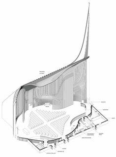 MEHR Valer church axo Sacred Architecture, Architecture Graphics, Religious Architecture, Church Architecture, Amazing Architecture, Interior Architecture, Architectural Floor Plans, Modern Church, Church Design