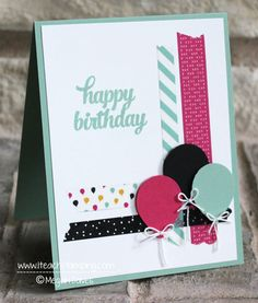 handmade birthday card ... washi tape strips cross at a corner ... punche balloons with cute string bows ...