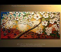 Besado por el sol Tamaño: 48 x 24 x 3/4 Hecho a la pintura de la orden. Pintado en Galería envuelta detrás lona mano estirada lienzo, bordes pintaron en negro - listo para colgar. Medio: Aceite de grado profesional y colores acrílicos. Colores: Rojo, azul cielo, blanco, crema, Tan, ocre, óxido, marrón, azul, amarillo, naranja. Firmado y fechado en el frente y reverso por el artista. Esta pintura fue creada con la espátula, herramientas de madera y aceites en mi estilo. Un certificado de a...