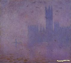 Houses of Parliament, Seagulls Artwork by Claude Oscar Monet Hand-painted and Art Prints on canvas for sale,you can custom the size and frame