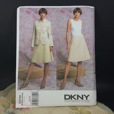 This #DKNY American Designer #Vogue pattern 2791  is for a loose-fitting, unlined, hip-length jacket with collar, shoulder yokes, pockets with flaps, no side seams, front snap closing, stitched hems and long, two-piece sleeves. A-line, wrap skirt (below waist) below mid-knee has contour waistband, stitched tucks, front snap closing and stitched hem.
