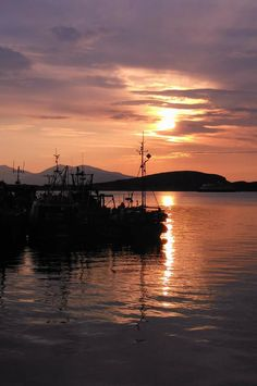 Good Night from Oban Outer Hebrides, Boats, Ireland, Sky, Sunset, Night, Painting, Outdoor, Heaven