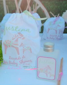 Souvenirs del Baby Shower. Party Favors, Bag custom. Bolsitas de algodón personalizada con infusor. #babyshower http://antonelladipietro.com.ar/blog/2012/12/polo-y-baby-shower/