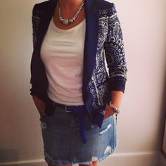 @whowhatwear wardrobe summer challenge #Day9 : Pair your go-to cutoff denim shorts with a blazer... but for myself I prefer skirts!!!  #wwwsummer30 #fashionandthecity #ootd #summerstyle #ripped #denim #skirt #trend