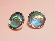 Aqua Blue Clam Shell Demi Mini Petite Snap Jewelry Snap 2/12mm Noosa Style Ginger Snap GingerSnap Snap Button Earring Cabochon Charm