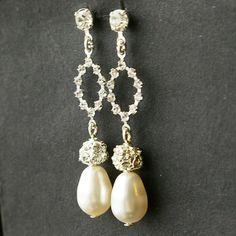 Crystal and Pearl Earrings, Bridal Earrings
