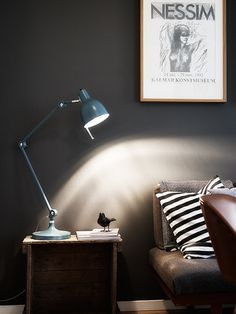 It might be nice to have some dark gray walls in a certain room. I also like the one small bird accessory under the lamp (although with maybe a less industrial lamp)
