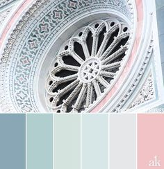 a rosette-inspired color palette // pastels, blue, green, stone, pink // Florence Cathedral Pastel Colour Palette, Colour Pallette, Colour Schemes, Pastel Colors, Color Combos, Colours, Soft Pastels, Paredes Color Pastel, Room Colors