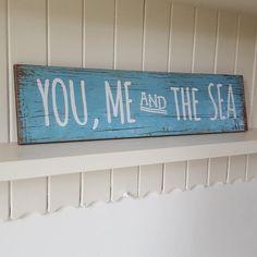 YOU, ME AND THE SEA NAUTICAL CHIC N SHABBY BLUE WOODEN SEASIDE COASTALPLAQUE