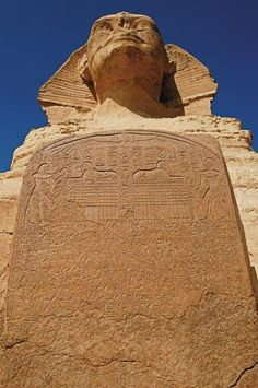 *SPHINX CARVED GRANITE SLAB:  Uncovering Secrets of the Sphinx.  According to the legend, the decaying Sphinx spoke to prince Thutmose in a dream, urging him to restore the statue to its glory.