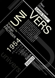 Univers was designed in 1954 by Adrian Frutiger. On April Bell labs created the solar battery made from silicon. Board of Education took place. Typo Design, Graphic Design Tips, Graphic Design Posters, Graphic Design Typography, Graphic Design Inspiration, Typo Poster, Poster Fonts, Typographic Poster, Logo Minimalista