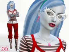 Monster High - Ghoulia yelps Set - hairstyle,earrings,boots,necklaces, Glasses, outfit Found in TSR Category 'Sims 4 Downloads'