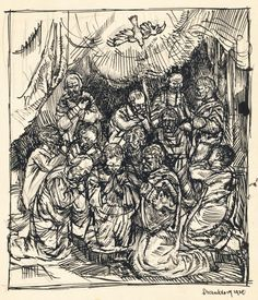 Carl Schmitt (1889-1989): Descent of the Holy Spirit, pen and ink drawing, December 17, 1920