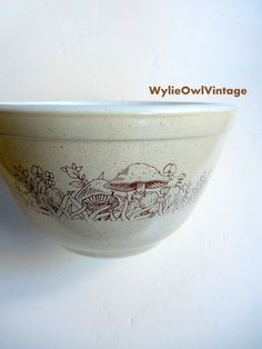 Vintage Pyrex Mushroom Print Small Mixing Bowl by WylieOwlVintage, $9.00