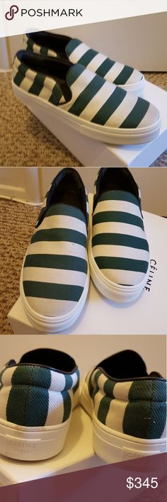 Celine Green & White Stripe Slip On Sneaker 8 New in box and never worn. Canvas upper and rubber soles. Size 38/8. Never worn but does have very minimal wear from people trying it on at Barneys. Authentic. Celine Shoes Sneakers