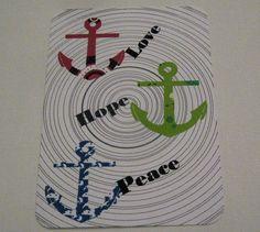 Karte Love, Hope, Peace mit Anker  von ღKreawusel-Designღ auf DaWanda.com