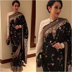 "afashionistasdiaries: ""@therealkarismakapoor  Sari & Clutch - @sabyasachiofficial  Jewelry - @amrapalijewels  Styled by - @tanghavri  #bollywood #style #fashion #beauty #bollywoodstyle #bollywoodfashion #indianfashion #celebstyle #karismakapoor #sabyasachi"""