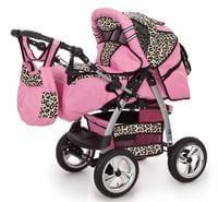 Lux4kids Kombikinderwagen Kinderwagen Megaset 3in1 Babywanne Babyschale Buggy King Pink Beige Leopard Kombikinderwagen Kinder Wagen Kinderwagen
